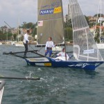 Pegasus Racing, Shark Kahn, Cameron MacDonald, and Geoff Moore sailing an 18 Foot Skiff during the World Championships in Sydney Australia 2005.