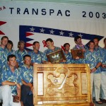 Philippe Kahn and Pegasus Racing accepting awards for winning the Transpac 2003.