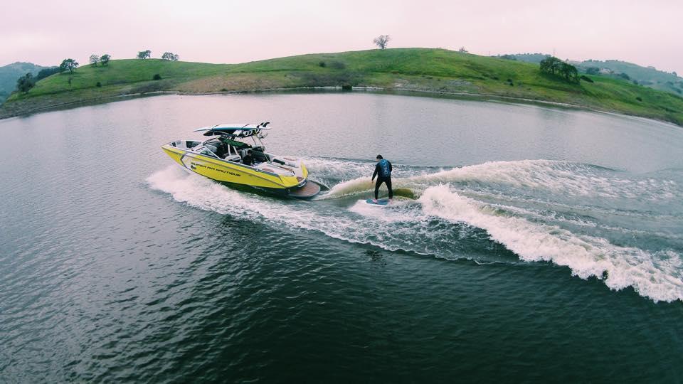Philippe Kahn surfing the wake!