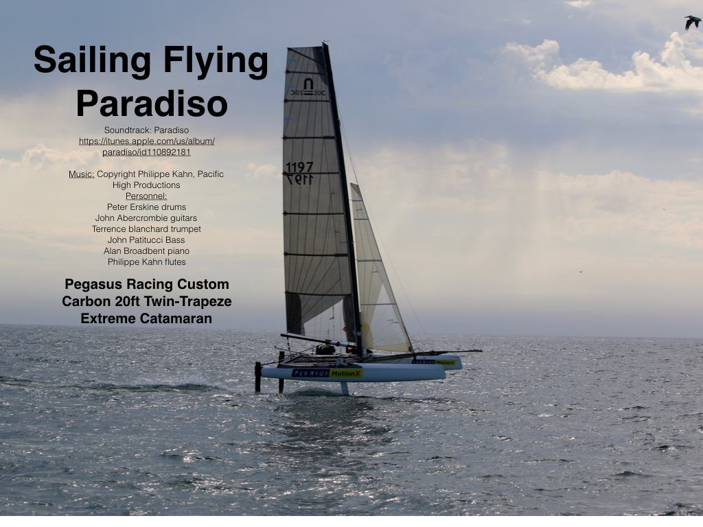 Philippe Kahn Nov 9, 2015, New fantastic drone footage of Pegasus MotionX 20ft carbon foiling cat first sail